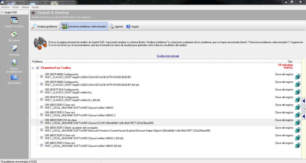 Spybot, elimina programas no deseados.