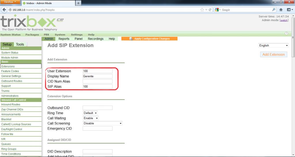 Configurar Protocolo SIP en Trixbox 7