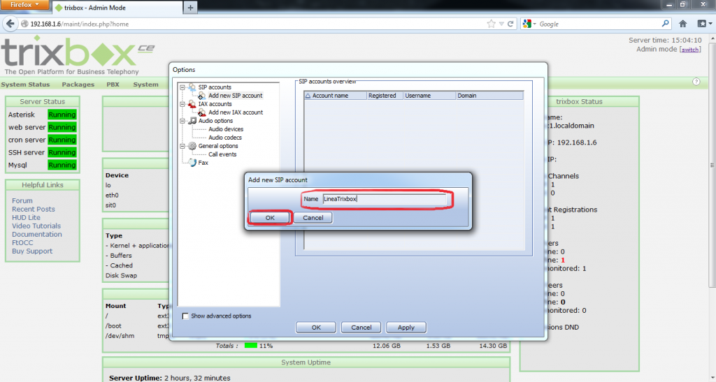 Configurar Protocolo SIP en Trixbox 15