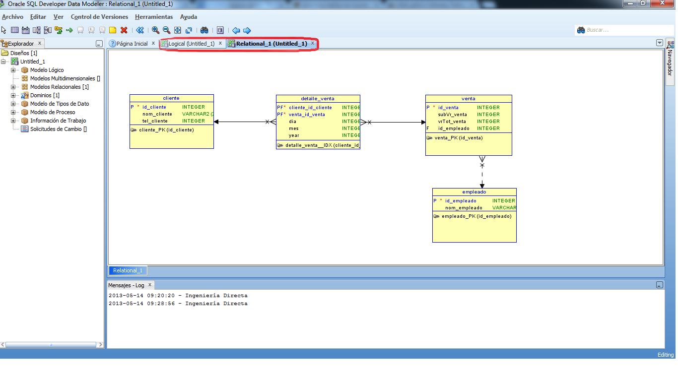 Modelo fisico en developer data modeler