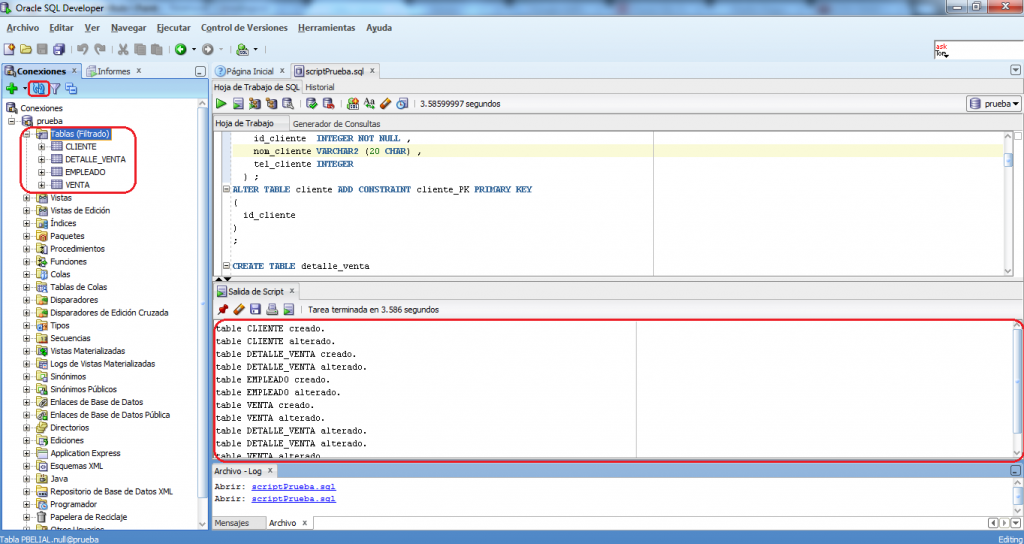 Tablas creadas en SQL Developer