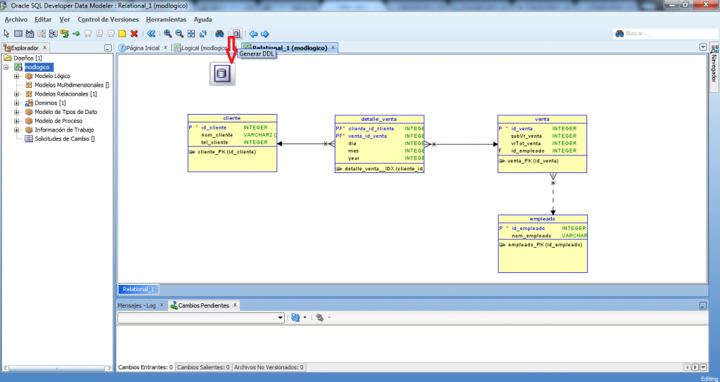 Generar script con developer data modeler