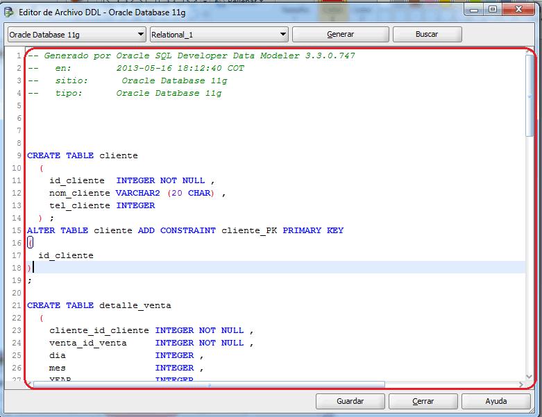 Script DDL generado