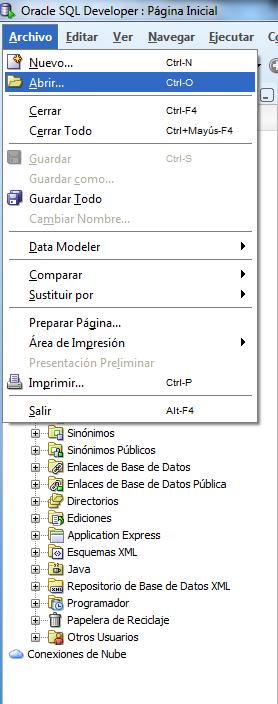 Abrir archivo sql en SQL developer