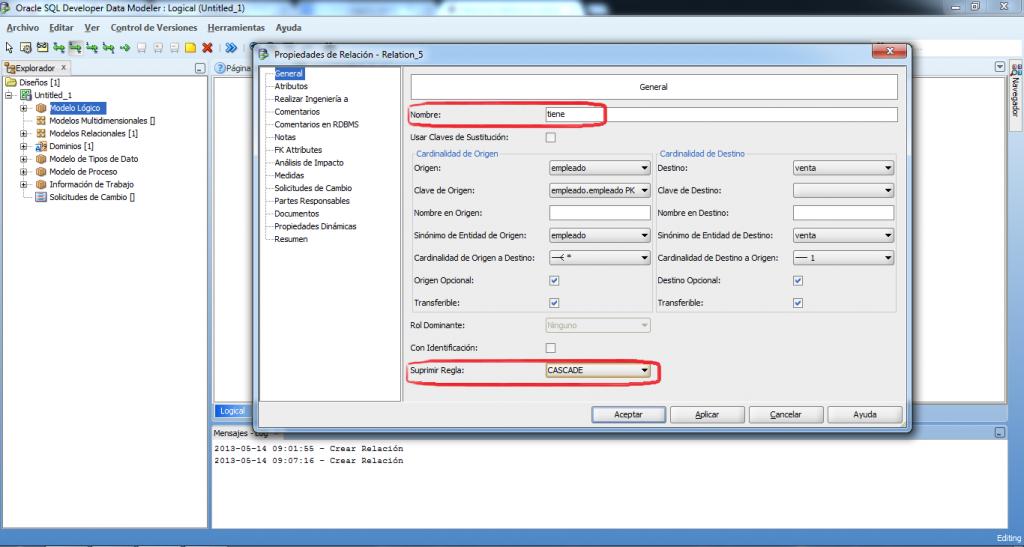 Relacion 1:N developer data modeler
