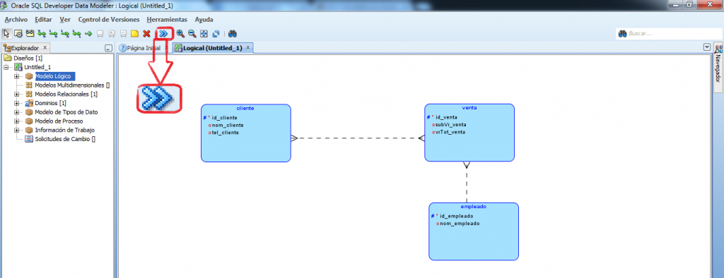 Modelo fisico en developer data modeler
