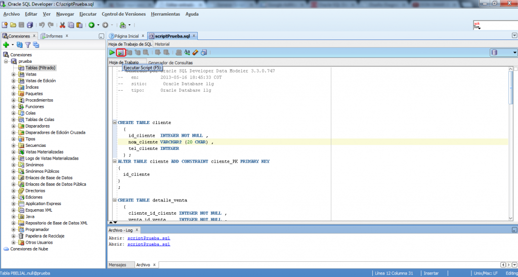 Ejecutar script DDL en sql developer