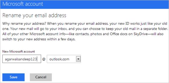 renombrar cuenta de correo De Hotmail A Outlook