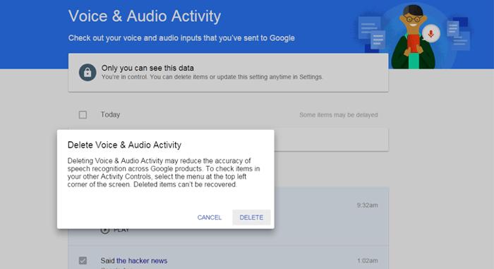 eliminar busquedas de voz en google