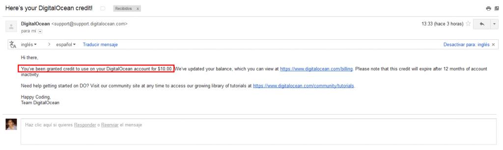 credito en digital ocean gmail