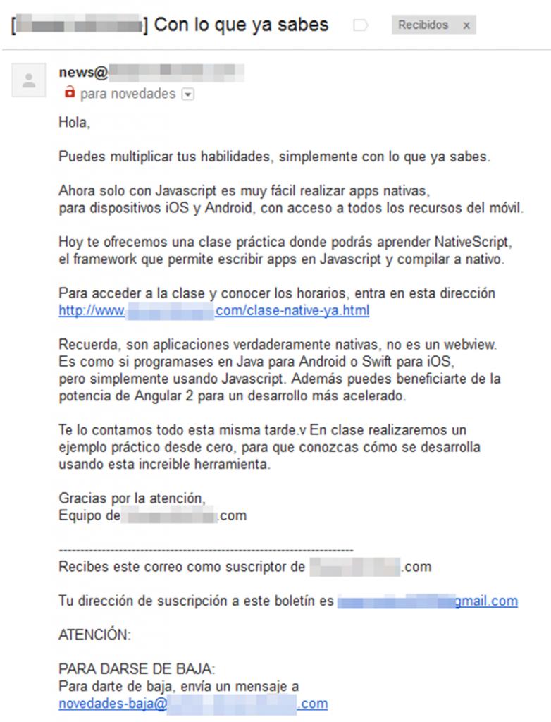 correo electronico sin formato