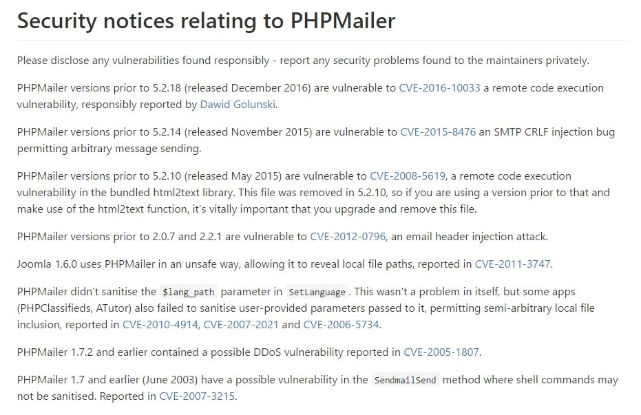 security phpmailer