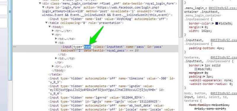 cambiar tipo campo html