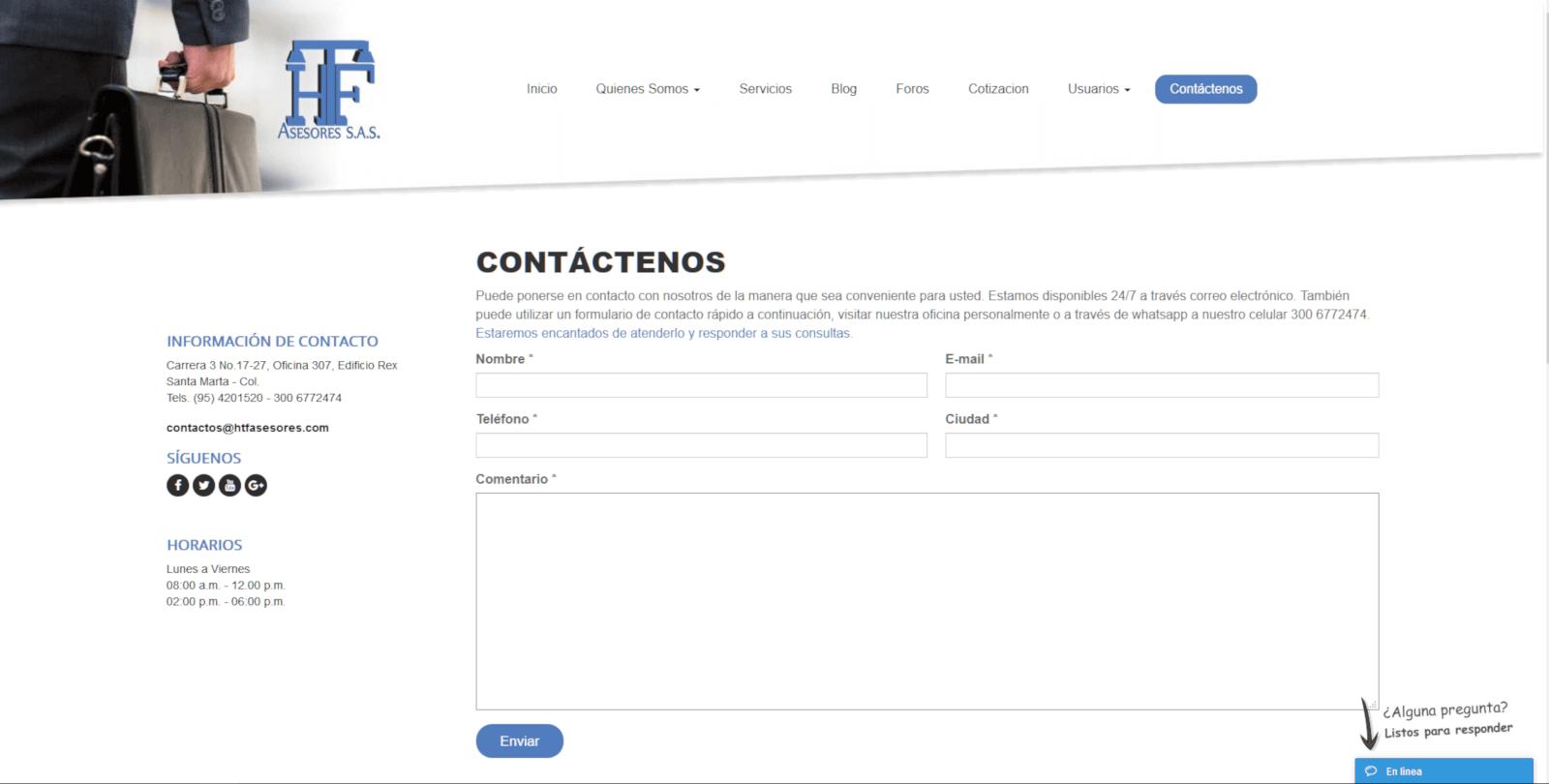 CONTACTO HTFASESORES DISENO WEB COLOMBIA