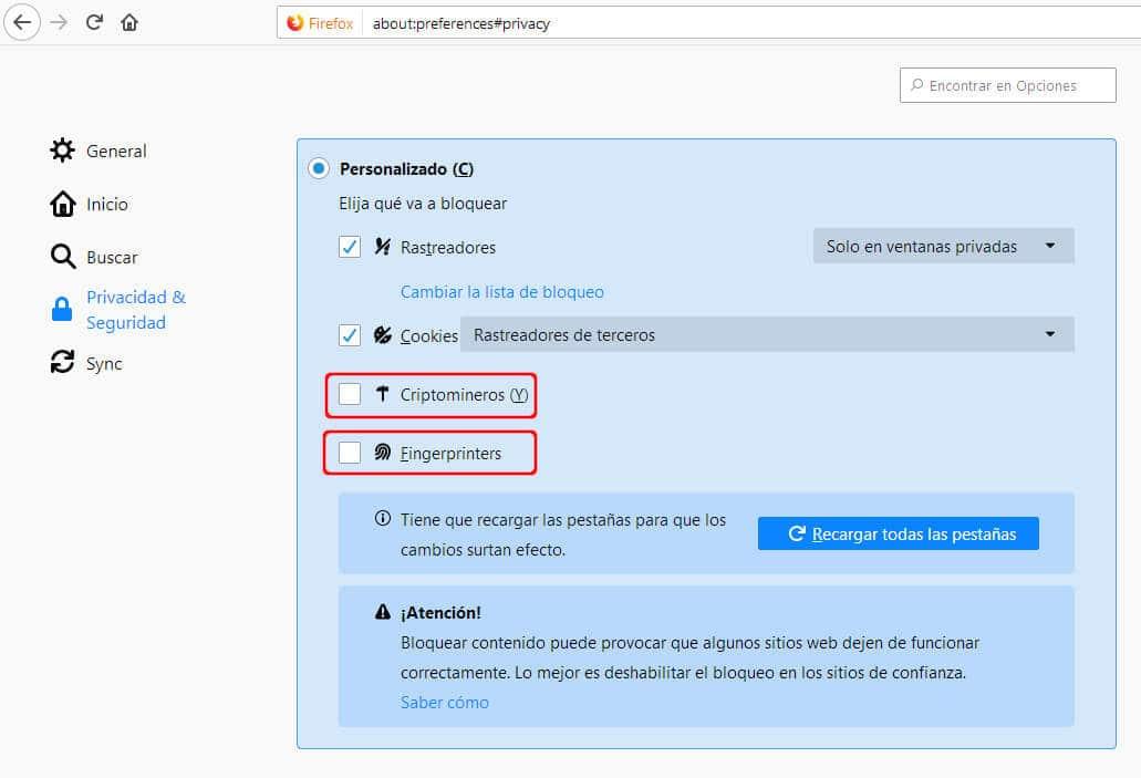 PASO 3 2 - SELECCIONAR ANTI RASTREO MINEROS FIREFOX bloquear criptomineros