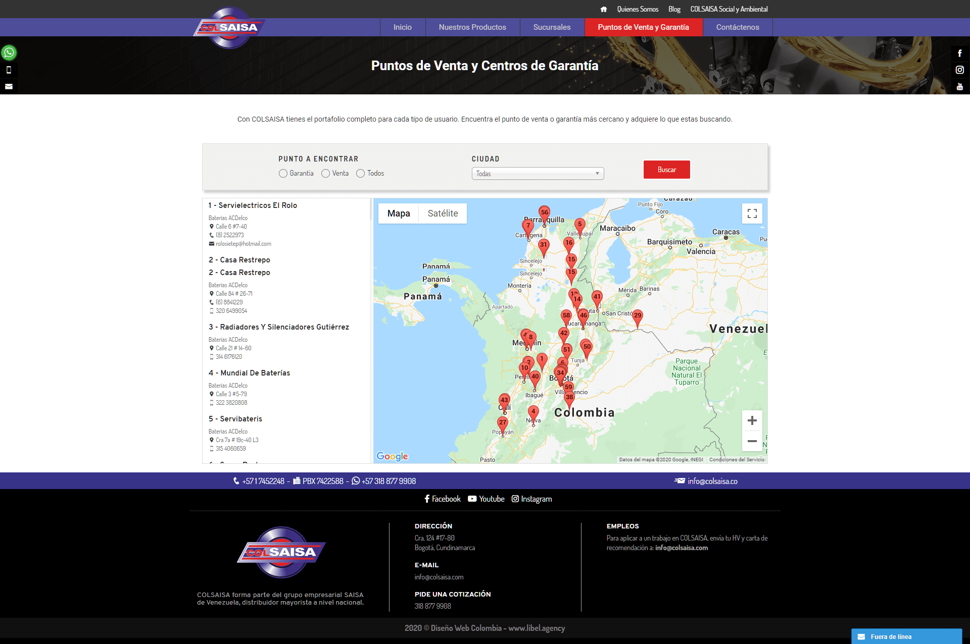 COLSAISA SITIO WEB MAPA EN WORDPRESS