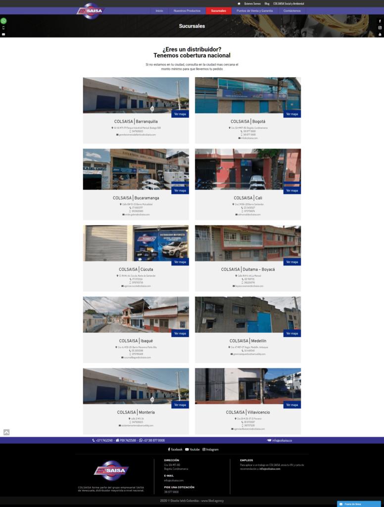 COLSAISA SITIO WEB SUCURSALES EN WORDPRESS